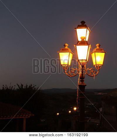 Street Lights in Monsanto Historic Village at Night, Monsanto Village, Portugal.