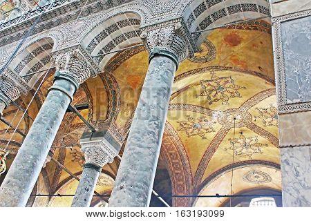 ISTANBUL, TYRKEY - MARCH 30 2013: Saint Sophia interior in Istanbul, Turkey