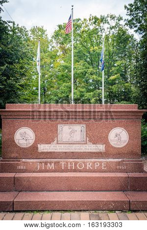 JIM THORPE PENNSYLVANIA - SEPTEMBER 28: The Jim Thorpe grave monument where he is buried on September 28 2016 in Jim Thorpe Pennsylvania.