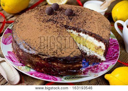 Chocolate lemon semolina cake homemade layered cake with semolina citrus cream delicious dessert