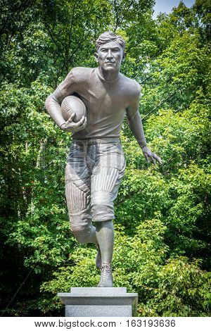 JIM THORPE PENNSYLVANIA - SEPTEMBER 28: The Jim Thorpe football monument in his Memorial Park on September 28 2016 in Jim Thorpe Pennsylvania.