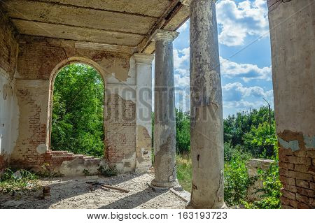 Terrace with columns, an abandoned manor of Earl Voeikov