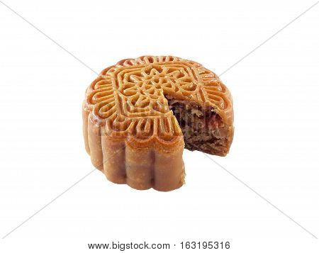Chinese Moon Cake isolated on white background, food or snack made from flour, cereals filling, eaten in the Chinese Moon Festival