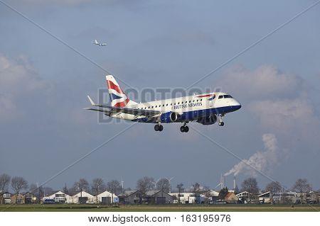 Amsterdam Airport Schiphol - British Airways Embraer 170 Lands