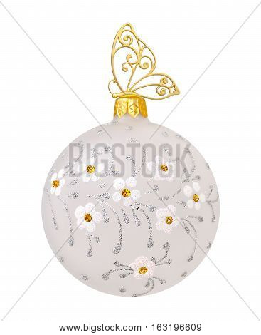 Christmas ball with flowers and golden butterfly on white background
