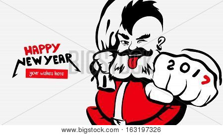 Hipster funny Santa Claus, greeting card 2017, happy new year, a place for your wishes. father christmas with mohawk.Merry X-mas.concept for banner, calendar, postcard, invitation.Vector illustration isolated