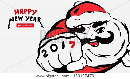 cartoon Santa Claus, greeting card, happy new year, 2017, place for your wishes. father christmas smiles.Merry X-mas.concept banner, calendar, postcard, invitation.Vector illustration isolated on background