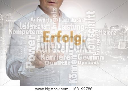 Erfolg Wordcloud (in German Success) Touchscreen Is Operated By Man