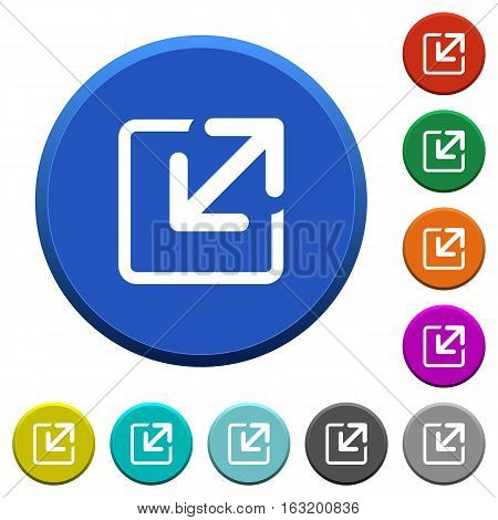Resize window round color beveled buttons with smooth surfaces and flat white icons