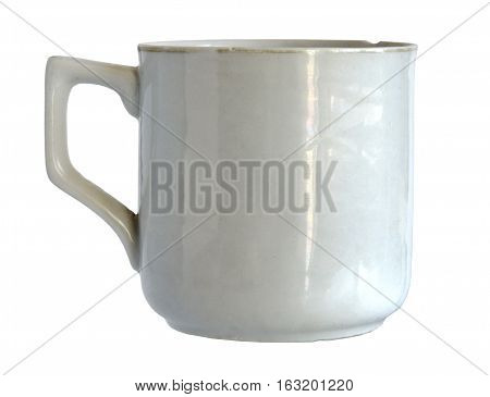 Very old antique porcelain cup with minor age defects isolated on white background