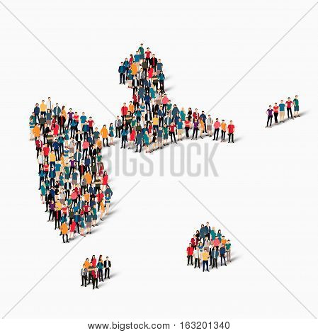 Isometric set of styles, people, map of Guadeloupe, country, web infographics concept of crowded space, flat 3d. Crowd point group forming a predetermined shape. Creative people. Vector illustration. Photo vector.3D illustration. White background . Isolat