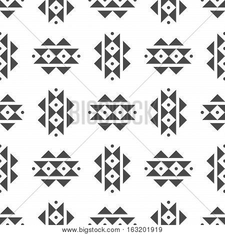 Abstract vector tribal ethnic background pattern. Geometric design indian abstract tribal seamless pattern. Fabric textile traditional native print aztec decoration.