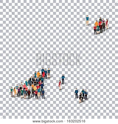 Isometric set of styles, people, map of Guernsey, country, web infographics concept of crowded space, flat 3d. Crowd point group forming a predetermined shape. Creative people. Vector illustration. Photo vector.3D illustration. Transparent background . Is