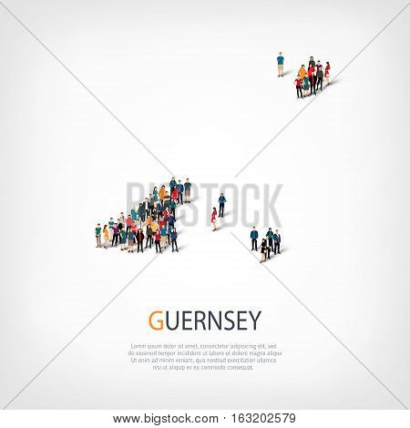 Isometric set of styles, people, map of Guernsey, country, web infographics concept of crowded space, flat 3d. Crowd point group forming a predetermined shape. Creative people. Vector illustration. Photo vector.3D illustration. White background . Isolated