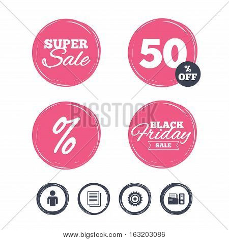 Super sale and black friday stickers. Accounting workflow icons. Human silhouette, cogwheel gear and documents folders signs symbols. Shopping labels. Vector