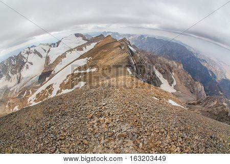 View from the top Sairam Peak, Tien Shan, southern Kazakhstan