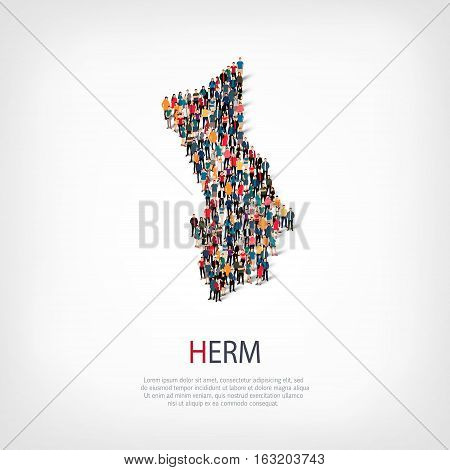 Isometric set of styles, people, map of Herm, country, web infographics concept of crowded space, flat 3d. Crowd point group forming a predetermined shape. Creative people. Vector illustration. Photo vector.3D illustration. White background . Isolated.