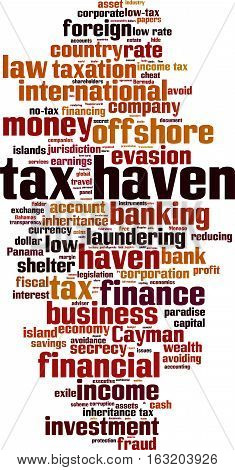 Tax haven word cloud concept. Vector illustration
