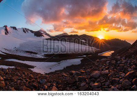Beautiful sunset in the mountains Tien Shan, southern Kazakhstan