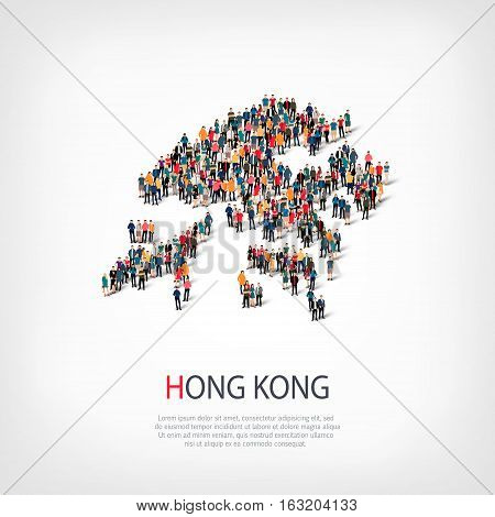 Isometric set of styles, people, map of Hong Kong , country, web infographics concept of crowded space, flat 3d. Crowd point group forming a predetermined shape. Creative people. Vector illustration. Photo vector.3D illustration. White background . Isolat