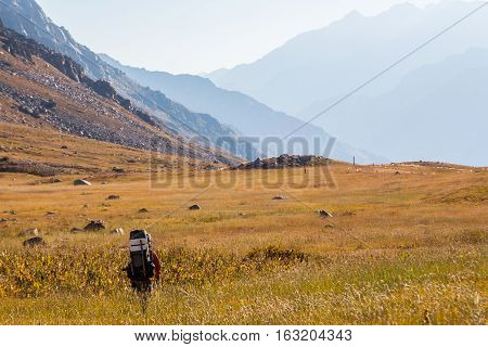 Climber going to the mountains of Tien Shan, southern Kazakhstan