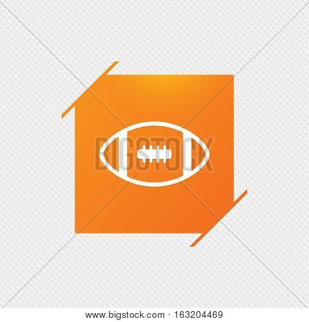 American football sign icon. Team sport game symbol. Orange square label on pattern. Vector