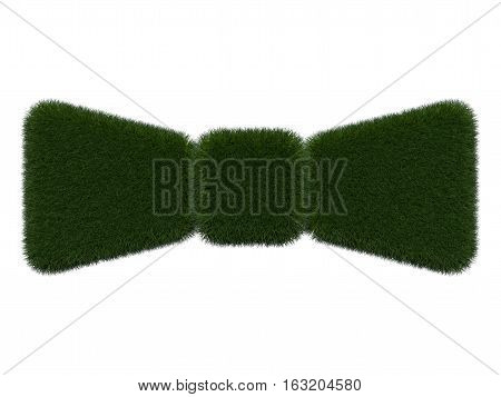 Grassy bow-tie on white background. Isolated digital illustration. 3d rendering