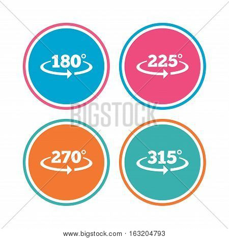 Angle 180-315 degrees icons. Geometry math signs symbols. Full complete rotation arrow. Colored circle buttons. Vector