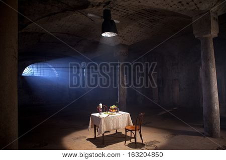 covered dining table in the abandoned room