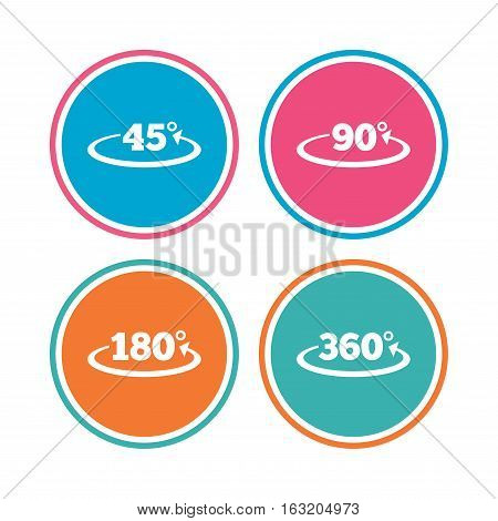 Angle 45-360 degrees icons. Geometry math signs symbols. Full complete rotation arrow. Colored circle buttons. Vector