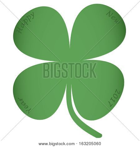 Four leaf clover with text Happy New Year 2017, New Year card