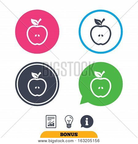 Apple sign icon. Fruit with leaf symbol. Report document, information sign and light bulb icons. Vector