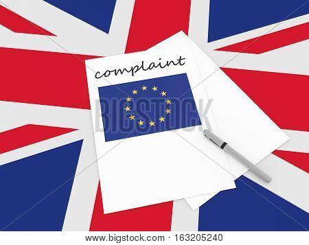 British Politics: EU Complaint On UK Union Jack Flag 3d illustration