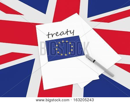 British Politics: EU Treaty Note On UK Union Jack Flag 3d illustration