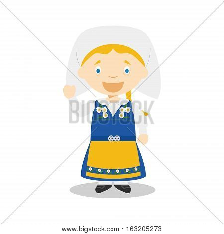 Character from Sweden dressed in the traditional way Vector Illustration. Kids of the World Collection.