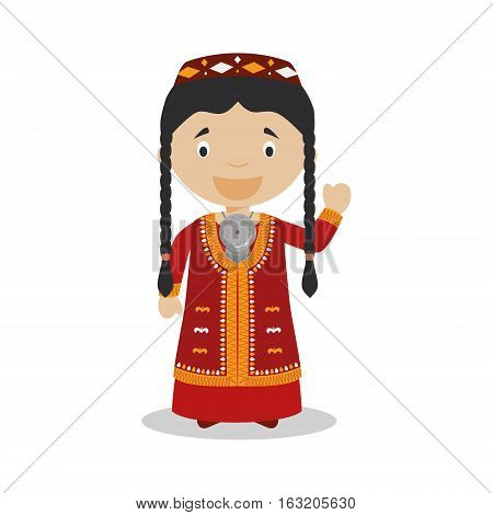 Character from Turkmenistan dressed in the traditional way Vector Illustration. Kids of the World Collection.