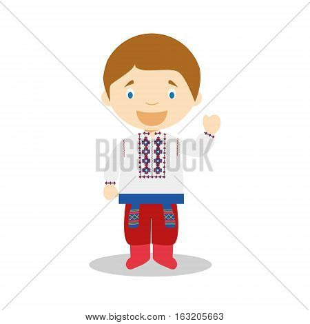 Character from Ukraine dressed in the traditional way Vector Illustration. Kids of the World Collection.