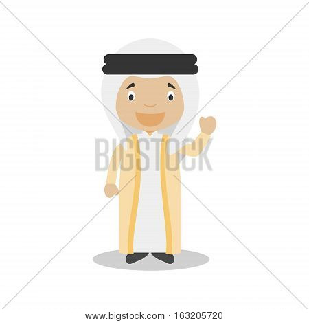 Character from United Arab Emirates dressed in the traditional way Vector Illustration. Kids of the World Collection.