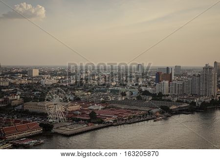 Bangkok river side city , before sunset