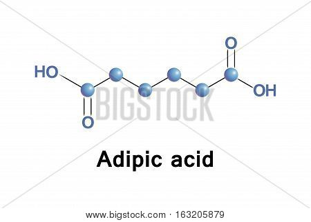 Adipic acid is the organic compound, this dicarboxylic acid produced mainly as a precursor for the production of nylon. Vector molecule.