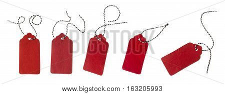 Collage of gift tags isolated on white background. Sale labels. Price tags. Special offer and promotion. Store discount. Shopping time. Gift labels. Label from red felt.