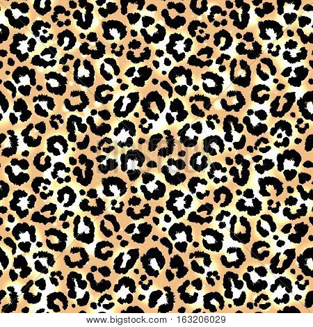 Seamless leopard african animal camouflage pattern. Vector.
