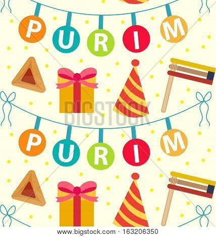 Purim seamless pattern with carnival elements. Happy Purim Jewish festival, carnival, endless background, texture, wallpaper. Vector illustration