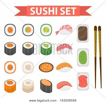 Sushi set icons, element for design, flat style. Japanese sushi and rolls, wasabi, soy sauce, ginger, chopsticks isolated on white background. Vector illustration, clip art