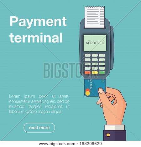 Hand pushing credit card from the pos terminal. Flat style. Vector illustration