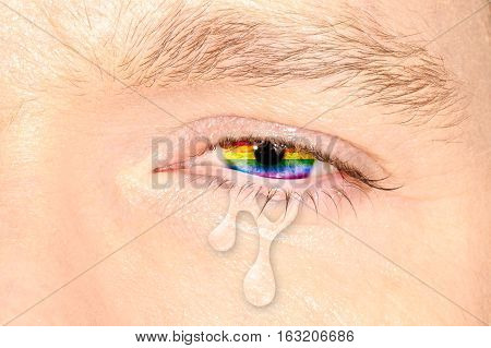 Crying eye with rainbow flag iris on color face. Concept of sadness and pain for the homosexual discrimination. Flag symbol of pride and freedom LGBT.