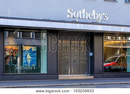 Zurich, Switzerland - 27 December, 2016: Sotheby's office on Tahlstrasse street. Sotheby's is one of the world's largest brokers of fine and decorative art, jewelry, real estate and collectibles.