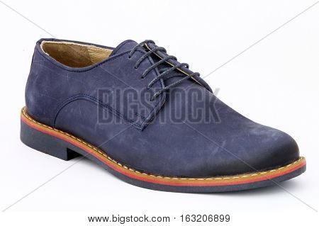 The blue man's shoe on white background