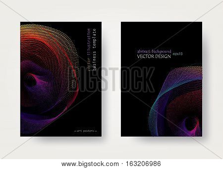 Set geometric black and rainbow backgrounds. Universal graphical template for covers, flyers, banners, posters and placards,  presentations, books. Business card. EPS10 vector illustration A4 Size