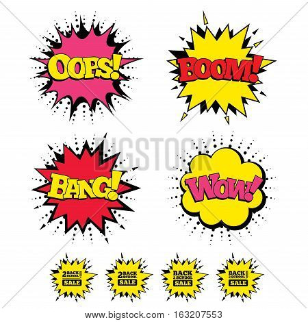 Comic Boom, Wow, Oops sound effects. Back to school sale icons. Studies after the holidays signs. Pencil symbol. Speech bubbles in pop art. Vector